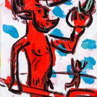 """Pedro d'Oliveira, """"Diabo com Maçã e Tridente"""", 2016, Acrílico sobre tela, 10x15 cm"""