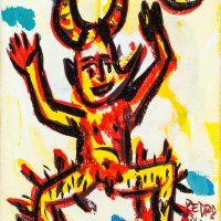 """Pedro d'Oliveira, """"Diabo com Maçã em Chamas"""", 2016, Acrílico sobre tela, 10x15 cm"""