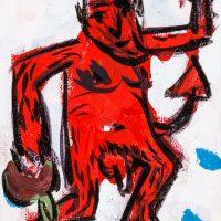 """Pedro d'Oliveira, """"Diabo com Maçã"""", 2016, Acrílico sobre tela, 10x15 cm"""