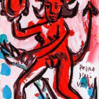 """Pedro d'Oliveira, """"Diaba com Maçã e Serpente 2"""", 2016, Acrílico sobre tela, 10x15 cm"""