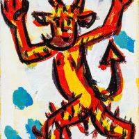 """Pedro d'Oliveira, """"Diabo com Maçã em Chamas 2"""", 2016, Acrílico sobre tela, 10x15 cm"""