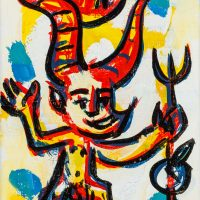 """Pedro d'Oliveira, """"Diabrete com Maçã e Tridente"""", 2016, Acrílico sobre tela, 10x15 cm"""