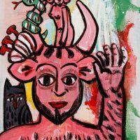 """Pedro d'Oliveira, """"Fauno com Mulher, Serpente e Lobo"""", 2016, Acrílico sobre tela em cartão, 15x20 cm"""