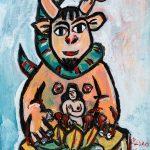 """Pedro d'Oliveira, """"Fauno com Mulher e Serpente"""", 2016, Acrílico sobre tela em cartão, 15x20 cm"""