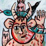 """Pedro d'Oliveira, """"Fauno com Mulher, Serpente, Mocho e Corvo"""", 2016, Acrílico sobre tela em cartão, 15x20 cm"""