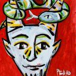 """Pedro d'Oliveira, """"Fauno com Maçã e Serpente 2"""", 2016, Acrílico sobre papel, 15x21 cm"""