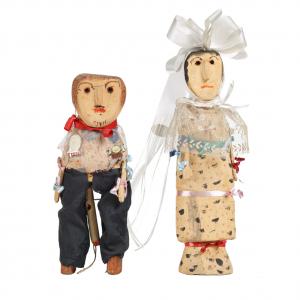 """""""Casal de Noivos"""", Ti Guilhermina, 2000, Madeira, tintas e tecidos"""