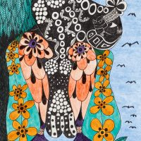 """""""Sem título"""", Série Psico-afroliberdélia, 2017, Artpen e tinta de vitral sobre papel, 34x42cm"""