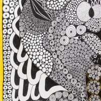 """""""Sem título"""", Série Psico-afroliberdélia, 2017, artpen e verniz de vitral sobre papel, 34x42cm [INDISPONÍVEL / UNAVAILABLE]"""