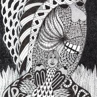 """""""Sem título"""", Série Psico-afroliberdélia, 2015, artpen sobre papel, 46x60cm [INDISPONÍVEL / UNAVAILABLE]"""