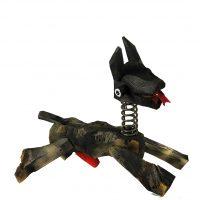 """""""Cão de Mola"""", 2017, madeira, tintas, outros, 47x41x25cm"""