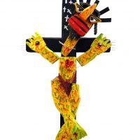 """Cristo Apaixonado"", 2017, madeira, tintas, outros, 93x49x14cm [INDISPONÍVEL/UNAVAILABLE]"