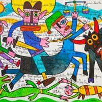"""""""São Miguel e São Tanás"""", 2017, acrílico sobre tela, 100x90cm [INDISPONÍVEL/UNAVAILABLE]"""