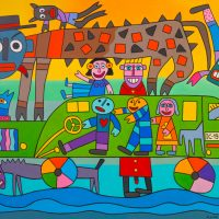 """""""A Caminho da Escola"""", 2017, óleo sobre tela, 100x90cm [INDISPONÍVEL/UNAVAILABLE]"""