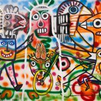 """A Santa Grafitada"", 2017, acrílico e spray sobre tela, 100x90cm [INDISPONÍVEL/UNAVAILABLE]"