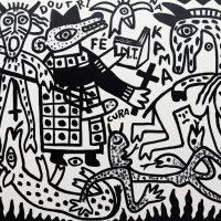 """Doutrina na Kama"", 2017, esmalte sobre tela, 100x90cm [INDISPONÍVEL/UNAVAILABLE]"