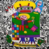 """O Nascimento do Artista ou A Santíssima Trindade ou O Diabo do Santo António"", 2016, óleo sobre tela, 100x90 cm [INDISPONÍVEL/UNAVAILABLE]"