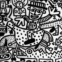 """""""São Miguel e JC"""", 2017, esmalte sobre tela, 100x90cm [INDISPONÍVEL / UNAVAILABLE]"""