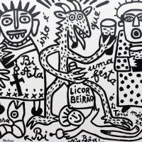 """""""A Bi Áta do Licor Beirão"""", 2017, esmalte sobre tela, 100x90cm [INDISPONÍVEL/UNAVAILABLE]"""