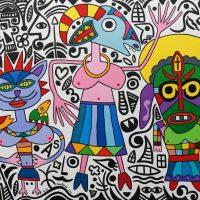 """""""As 3 Mascaradas"""", 2016, óleo sobre tela, 100x90 cm [COLECÇÃO CRUZES CANHOTO]"""