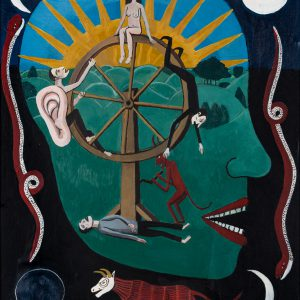 """""""Roda da Fortuna"""", 2018, acrílico sobre madeira, 31x38cm [COLECÇÃO CRUZES CANHOTO]"""