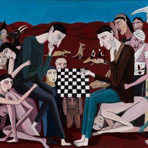 """""""Jogadores de Xadrez"""", acrílico sobre tela, 60x50cm [INDISPONÍVEL / UNAVAILABLE]"""
