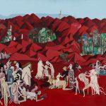 """""""Montanhas Vermelhas com Medusa"""", Acrílico sobre tela, 80x60 cm"""