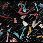 """""""Triptico Turbilhão (Formação do Mundo) (Aparecimento do Mal)"""", 2017, Acrílico sobre tela, 230x65 cm"""