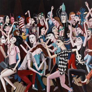 """""""Dancemania"""", Acrílico sobre tela, 95x95 cm [INDISPONÍVEL / UNAVAILABLE]"""