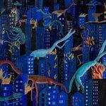 """""""Cidade em Chamas"""", 2017, Acrílico sobre tela, 60x40 cm"""