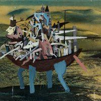 """""""Castelo-Carruagem"""", 2015, Acrílico sobre fotografia, 44x27 cm"""