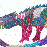 """Arte de Sofá 1"", caneta sobre papel, 27x19cm [INDISPONÍVEL / UNAVAILABLE]"