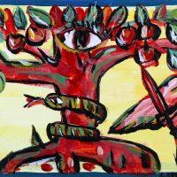 """""""A Árvore da Sabedoria"""", 2016, acrílico sobre cartão, 41x12cm"""