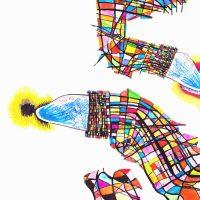 """""""Lagartos de Kandinsky"""", 2017, aguarela sobre papel, 70x50cm"""