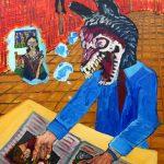 """""""Zombie Lobisomem, o Perguntador"""", 2017, Óleo sobre tela, 50x70 cm"""
