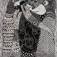 """""""Sem título"""", Série Psico-afroliberdélia, 2018, artpen sobre papel, 30x42cm [INDISPONÍVEL / UNAVAILABLE]"""