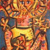 """""""Cristo em Fundo Azul"""", 2018, óleo sobre cartão telado, 24x30cm"""