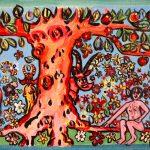 """""""Adão e Eva no Jardim Éden"""", 2016, Acrílico sobre cartão, 47x17 cm"""