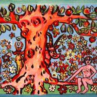 """""""Adão e Eva no Jardim Éden"""", 2016, acrílico sobre cartão, 47x17cm"""