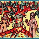 """""""A Maçã"""", 2016, Acrílico sobre cartão, 41x15 cm"""