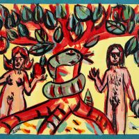 """""""A Maçã"""", 2016, acrílico sobre cartão, 41x15cm"""