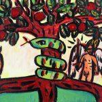 """""""Adão e Eva"""", 2016, Acrílico sobre cartão, 47x18 cm"""