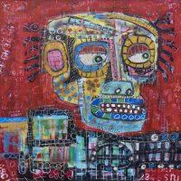 """Deshumanizados Nº048"", 2018, Acrílico sobre madeira MDF, 81x81 cm [INDISPONÍVEL/UNAVAILABLE]"