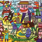 """Figuras dum Ispásso Imajinário"", 2018, Acrílico sobre tela, 100x81 cm [INDISPONÍVEL / UNAVAILABLE]"