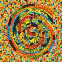 """""""Sem título"""", Série Arterapia, 2005, artpen e tinta de vitral sobre cartão de rua, 63x69cm (com moldura) [INDISPONÍVEL / UNAVAILABLE]"""