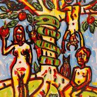 """""""Adão e Eva"""", 2016, acrílico sobre tela, 24x30cm"""