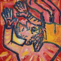 """""""Cristo Foge da Cruz"""", 2017, óleo sobre cartão, 50x40cm"""