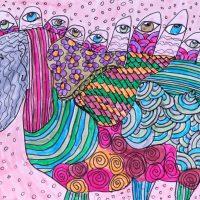 """""""Arte de Sofá 7"""", 2017, caneta sobre papel, 11x9cm"""