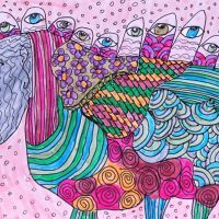 """Arte de Sofá 7"", 2017, caneta sobre papel, 11x9cm [INDISPONÍVEL / UNAVAILABLE]"