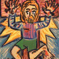 """""""Cristo de Calções Verdes"""", 2018, óleo sobre cartão, 50x40cm"""